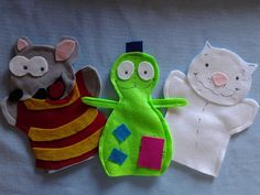 Toopy & Binoo & Patchy Patch Hand Puppets by puppetmaker, Puppets Felt Puppets, Hand Puppets, Handmade Crafts, Diy Crafts, 2nd Birthday, Birthday Ideas, Felt Dolls, Felt Art, Creative Crafts
