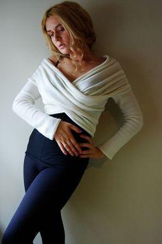 Cream Long Sleeve Wrap Light knit Top Sweater by LenaFelice