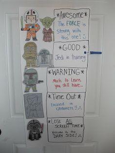 Here is the Star Wars behavior chart I made for my Kindergartner.  via: a wicked happy life  #StarWars  #BehaviorChart