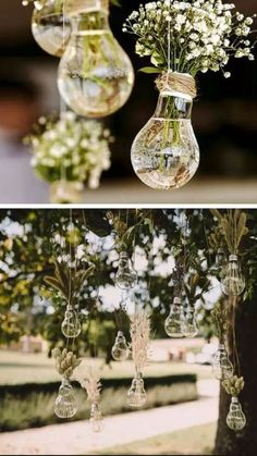 ideas wedding ceremony decorations on a budget centerpieces Light Bulb Vase, Hanging Light Bulbs, Budget Flowers, Diy Flowers, Table Flowers, Deco Champetre, Wedding Decorations On A Budget, Backyard Decorations, Inexpensive Wedding Ideas
