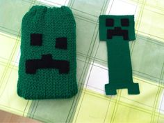 Knitted creeper DS cover and felt paper clip bookmark