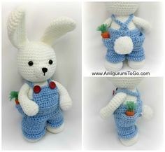 Bunny Boy - Free Amigurumi Pattern and Video Tutorial - Overall Pants here: http://www.amigurumitogo.com/2015/03/crochet-doll-overalls-pattern-free.html Bunny Pattern here: http://www.amigurumitogo.com/2015/03/Spring-Time-Dress-Me-Bunny.html