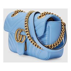 Gucci Gg Marmont Matelassé Mini Bag (£1,050) ❤ liked on Polyvore featuring bags, handbags, shoulder bags, blue handbags, gucci shoulder bag, chain shoulder bag, blue shoulder bag and gucci purse