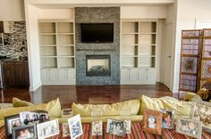 Condo Fireplace Design Ideas, Pictures, Remodel and Decor Bookshelves Around Fireplace, Built In Around Fireplace, Fireplace Wall, Living Room With Fireplace, Fireplace Surrounds, Fireplace Design, Fireplace Ideas, Living Room Update, Living Rooms