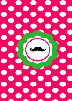 Mustache Polka Poster: Pink