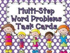 Editable Multi-Step Word Problems Task Cards & Cooperative Learning Activities