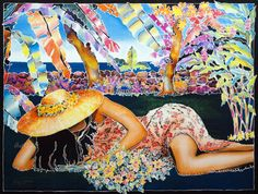 """""""Island Life"""" by Susan Patricia - Giclee on Canvas - People. This Giclee on Canvas measures approx. Luminous Colours, Painting People, Tropical Art, Island Girl, Silk Painting, Whimsical Art, Beach Day, Watercolor Art, Fine Art"""