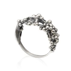 First Silver Balls Ring by Maya Sebbah | Jewelry Artist. Oxidized, Organic Ring, Biological Jewelry.