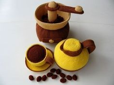 Crochet Pattern - COFFEE MAKER- Toys / Playfood -