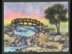 POND & BRIDGE Retired. Sells for 12.99   Sold separately are the other items used in the examples. Made by Art Impressions Rubber stamps. You can purchase all items in my ebay store: Pat's Rubber Stamps & Scrapbooks, Click on the picture & see the listing , or call me 423-357-4334 with order, We take PayPal. You get FREE SHIPPING ON PHONE ORDERS of $30.00 or more. If it says sold I have more. Use my search engine to find the items you are interested in