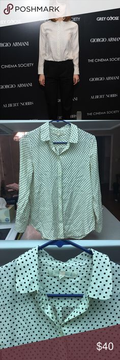 Alexa Chung for Madewell Cora Blouse A Piece from Alexa Chungs Coaboration with Madewell. Very versatile and sweet. Peter Pan collar. Size XS. Stain and a small snag on left side of shirt mid-shirt can send more photos please ask questions about this. Little sign of wear! Thank you!! Madewell Tops Blouses