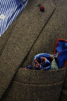 Traditional Tweet Jacket paired with bold colored and patterned silk pocket square