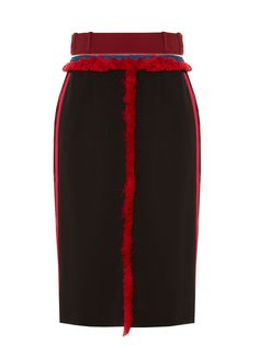 This season, Altuzarra's signature tailoring is enlivened with rich Indian-inspired texture. This black Alic skirt has a slick pencil shape that's trimmed with decorative fuzzy red panels and slinky burgundy and pink side stripes. Draw attention to the narrow, zip-detail waist with a tucked-in sweater