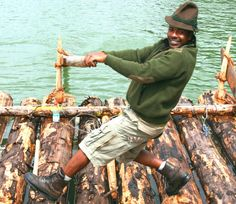 Germany's first black river rafter.  Jason Charles of Trinidad & Tobago running a raft on the Isar River in Bavaria.