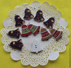Купить Пуговицы Рождественские Колокольчики деревянные 19х24 мм - комбинированный, пуговицы, пуговицы декоративные