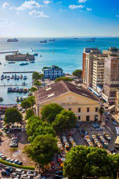 Cidade Baixa. Mercado Modelo Market and Fort of Sao Marcelo, Baia de Todos os Santos, Salvador, Bahia, Brazil by  Gonzalo Azumendi