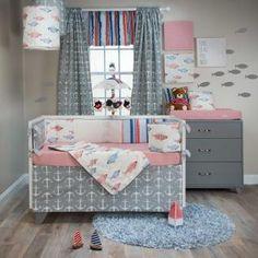 Fish Tales Baby Crib Bedding by Glenna Jean Crib Bedding Boy, Baby Boy Cribs, Linen Bedding, Crib Sets For Boys, Brown Crib, Black Bed Linen, Crib Skirts, Luxury Bedding