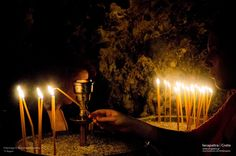 Lighting a candle at Panagia Faneromeni Monastery. (CC-BY-SA Religion, Greek, Candles, Traditional, Lighting, Concert, Light Fixtures, Greek Language, Recital