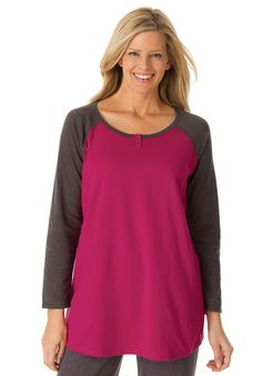 b92d6a59f15 This tee with baseball neck in soft knit is the ultimate comfy yet cute  work- · Plus Size TeesWomen s ...