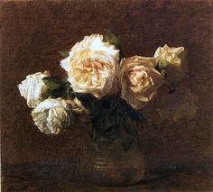 Six Roses jaunes dans un vase en verre - Henri Fantin-Latour