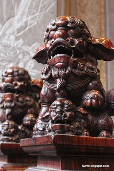wood carved lion, The Temple of Sansha, Taiwan