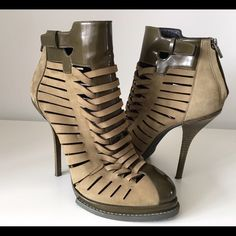 """ALEXANDER WANG """"ANDY"""" ANKLE BOOTS, SIZE 40 ALEXANDER WANG """"ANDY"""" SUEDE AND GLOSSED-LEATHER ANKLE BOOTS, SIZE 40, HEIGHT HEEL 5"""", PLATFORM 1"""", NO SIGNS OF WEAR ABOVE SOLE, GENTLY USED IN EXCELLENT CONDITION Alexander Wang Shoes Ankle Boots & Booties"""