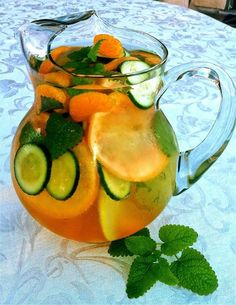 FAT FLUSH WATER- Ingredients: Water 1 slice grapefruit 1 tangerine  ½ cucumber sliced, 2 peppermint leaves & Ice- as much as you like. Directions: Wash grapefruit, tangerine cucumber and peppermint leaves. Slice cucumber, grapefruit and tangerine (or peel). Combine all ingredients (fruits, vegetables, 8 oz water & ice) into a large pitcher. The longer it sits, the better it tastes. The Vitamin C turns fat into fuel, the tangerine increases your sensitivity to insulin, cucumber makes u feel…