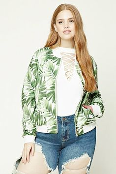 Forever - A knit bomber jacket featuring an allover foliage print, zip front, front slant pockets, long sleeves, and ribbed trim. Plus Size Inspiration, Style Inspiration, Stores Like Forever 21, Plus Size Distressed Jeans, Plus Size Peplum, Super Skinny Jeans, Latest Trends, Jackets For Women, Models