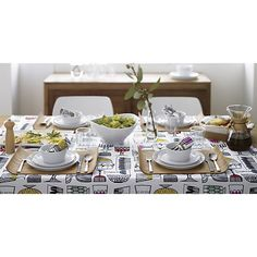 Verge Dinnerware in Dinnerware Sets | Crate and Barrel, I also love the tablecloth.