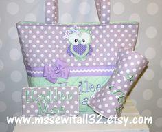 XL Quilted / Purple Polka Dot / Green Diaper Bag Set - Owl Applique- Personalized Diaper Bag Set