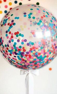 purple party: all purple confetti . How to Make a Giant Confetti Balloon for a Sprinkles Baby Shower : Home Improvement : DIY Network Ballons Brilliantes, Glitter Ballons, Round Balloons, Giant Balloons, Clear Balloons With Confetti, Tulle Balloons, Filling Balloons, Decoration Communion, New Years With Kids
