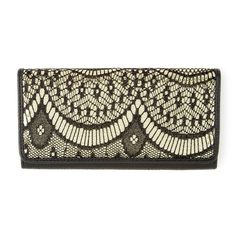 Black Lace with Gold Sequins and Faux Leather Wallet | Icing