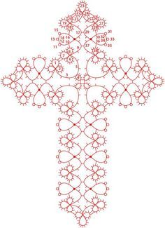Josephine Cross tatting chart with written pattern. It is a pattern, u… Josephine Cross tatting chart with written pattern. It is a pattern, using Josephine rings. Sample cross pic at site (www. Shuttle Tatting Patterns, Needle Tatting Patterns, Crochet Patterns, Crochet Cross, Thread Crochet, Irish Crochet, Tatting Jewelry, Tatting Lace, Cross Patterns