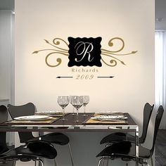 This Family Name Monogram vinyl decal measures 14.5 high X 36 wide.  Comes in two colors!    IMPORTANT: Please tell us the following