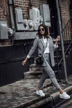 Checked Longline Blazer | Grey Check print