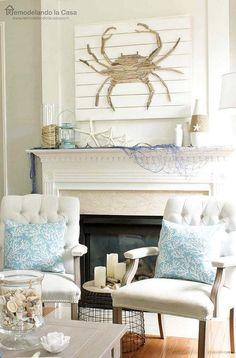Coastal Living room mantel with driftwood art. #rusticcoastallivingrooms