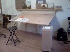 Wall Hang Drafting Table; have it off the wall so you are able to fold it down flat like the wall