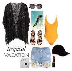 """""""TROPICAL VACATION 🌞"""" by victoriaw568 ❤ liked on Polyvore featuring H&M, Le Amonie, Illesteva, Smashbox and Fujifilm"""