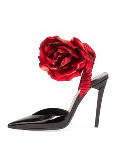 Saint Laurent Patent Slingback Pump w/Rose Flower