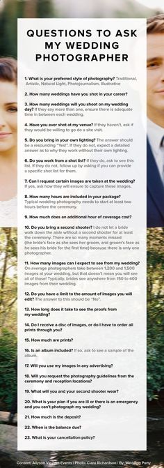 Questions to ask your wedding photographer! Great #wedding #advice. Pin now, read later.