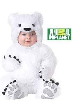 infant white polar bear costume halloween too cute baby Animal Costumes For Kids, Childrens Halloween Costumes, Bear Halloween, Toddler Costumes, Cute Costumes, Baby Costumes, Costume Halloween, Children Costumes, Halloween Stuff
