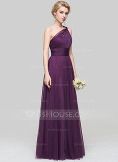 A-Line/Princess One-Shoulder Floor-Length Ruffle Zipper Up at Side Regular Straps Sleeveless No Grape Spring Summer Fall General Plus Tulle Height:5.7ft Bust:33in Waist:24in Hips:34in US 2 / UK 6 / EU 32 Prom Dress