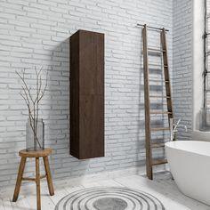 Creëer jouw droombadkamer met de mooiste meubels. Deze hoge kast is beschikbaar in verschillende kleuren waaronder eiken en antraciet. #badkamer #bathroom #furniture #home #homeinspiration #interieur #inspiratie #badkamerdesign #design #sanitair #harderwijk #nederland Clawfoot Bathtub, Bathroom, Dark, Wood, Washroom, Woodwind Instrument, Timber Wood, Wood Planks, Trees