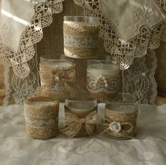 Candele tè juta e pizzo nozze tè candele vaso di di Bannerbanquet
