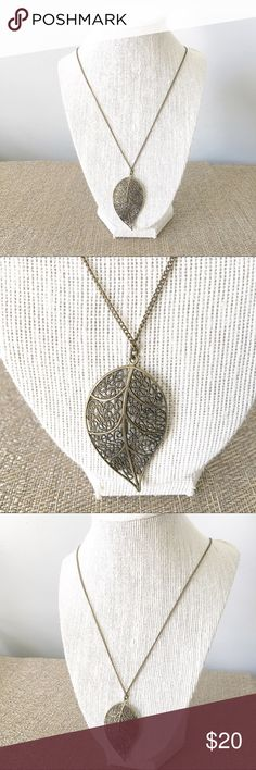 Long leaf necklace Long leaf necklace - brass color Jewelry Necklaces