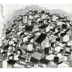 Wu Guanzhong Old City of Chongging. Ink and colour on paper. x 107 cm. Lotus, Wu Guanzhong, Old City, Chinese Painting, Ink Painting, Hong Kong, Toy Block, City Photo, Auction