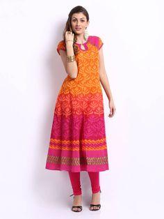 Shakumbhari Women Orange & Pink Printed Anarkali Kurta