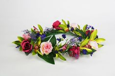Roses, Orchids and Daisies Flower Crown for Weddings, Bridal, Bridesmaid and Hens Red And Pink Roses, Bride Hair Accessories, Flower Crowns, Floral Crown, Hens, Daisies, Green Leaves, Hair Pieces, Orchids