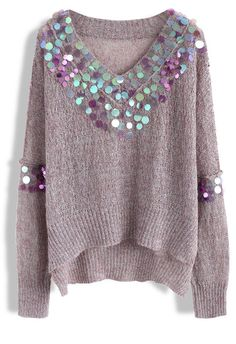Glittering Time Knit Top in Violet