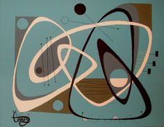 EL GATO GOMEZ PAINTING RETRO 1950S ABSTRACT EAMES MID CENTURY DANISH MODERN MOD #Modernism